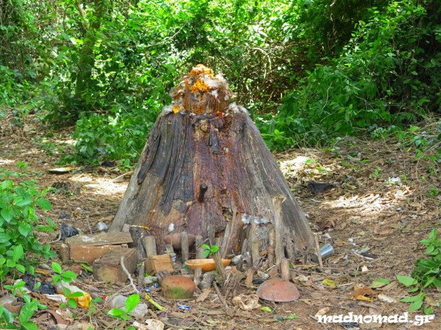 Temple in the sacred forest of Possotomé, where chickens and other animals are being sacrificed during voodoo ceremonies.