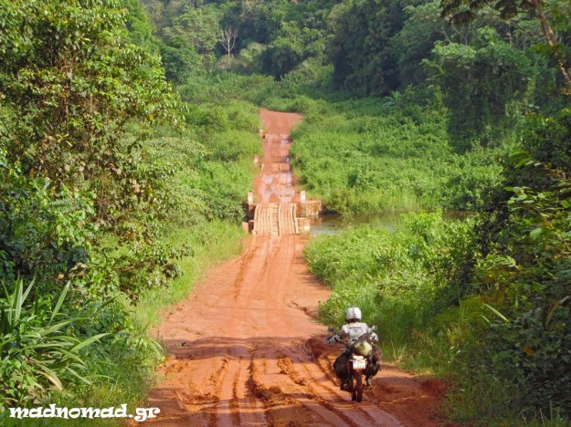Riding through the isolated and stunning jungle, on the way to the border with Congo.