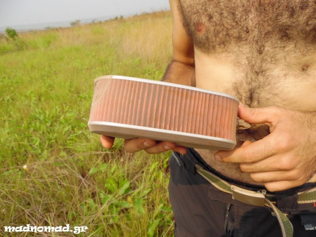 We covered our air filters with body stockings, in order for them to keep most of the dirt, making it easier for us to clean it in the middle of the jungle! A brilliant idea of our mechanic, Dimitris Katigiannis from NRG.