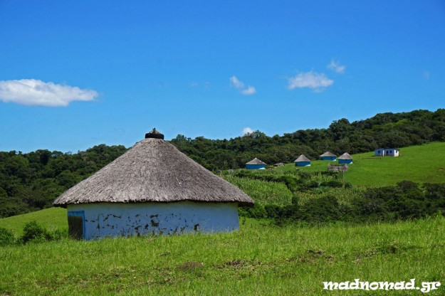 The typical round huts of the countryside with the traditional straw roof