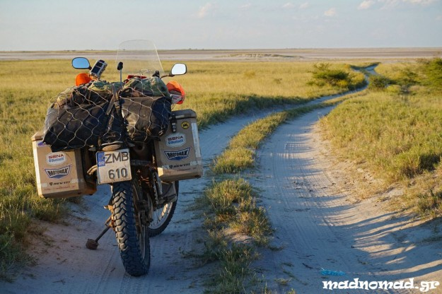 Initially, I was riding through the green bush until the salt pans appeared. I had no idea what was coming...
