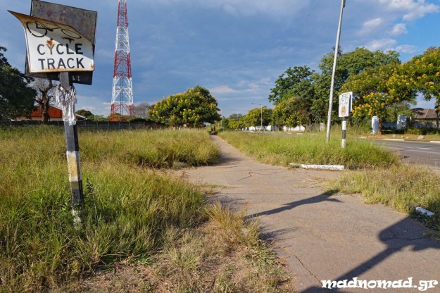 Overgrown bicycle lanes remind a long gone glory of Zimbabwe...