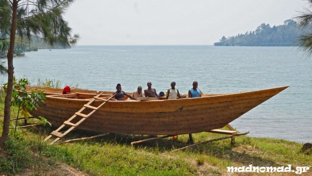 Boat building in Lake Kivu, the largest of Rwanda's many lakes