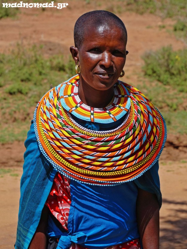 This area is populated by the Samburu tribe and women usually wear these huge, colorful, beaded necklaces.
