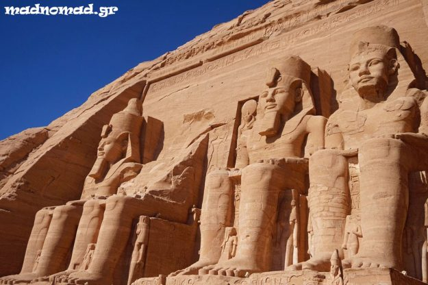The magnificent temples of Ramses II were carved out of the rocky mountain between 1274 and 1244 BC. They had to be moved all together to be saved from the artificial Lake Nasser!