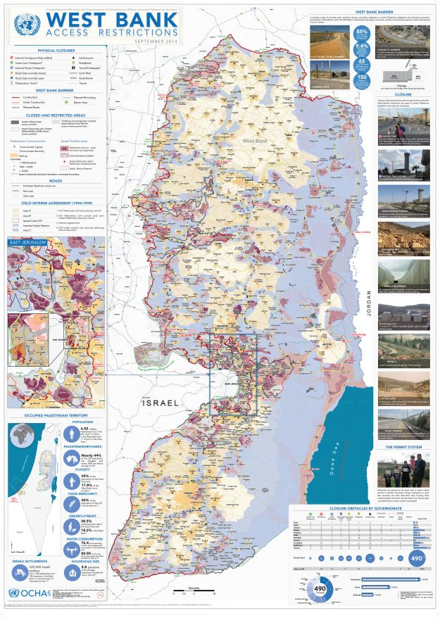The only areas left to Palestinians are those small, light brown pieces of land. The rest are considered Israeli despite being in the West Bank.