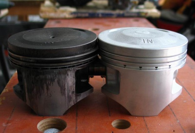 New and old piston